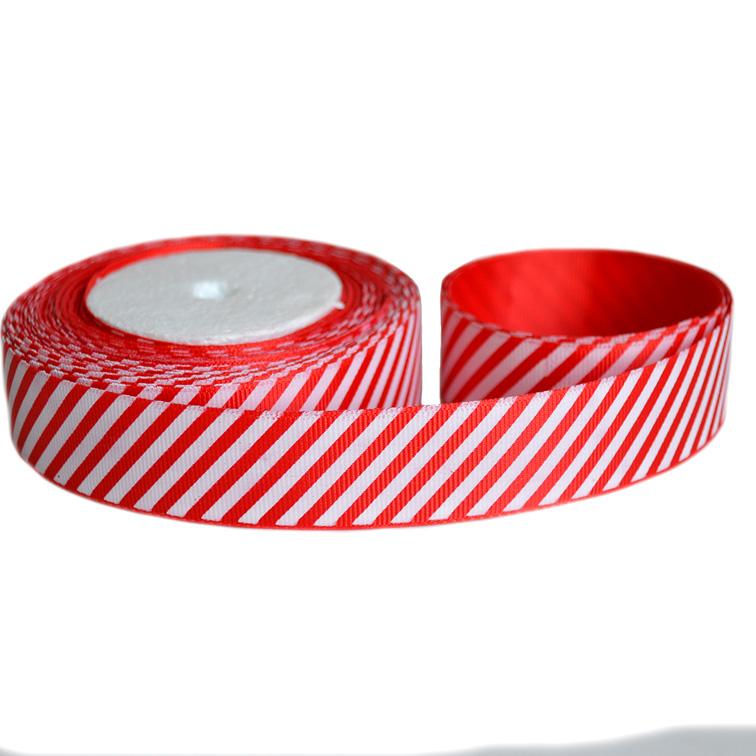 Репсовая лента «Полосы» 2,5 см (1м), красный