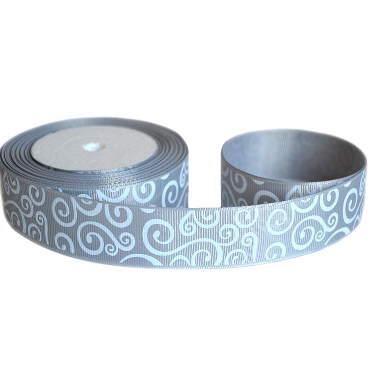 Репсовая лента «Узор» 2,5 см (1м), серый/белый