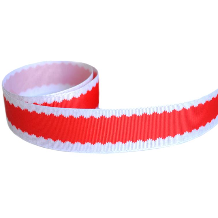 Репсовая лента «Кружево» 2,5 см (1м), красный/белый