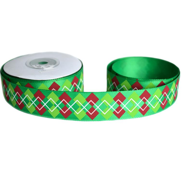 Репсовая лента «Ромбики» 2,5 см (1м), зелёный