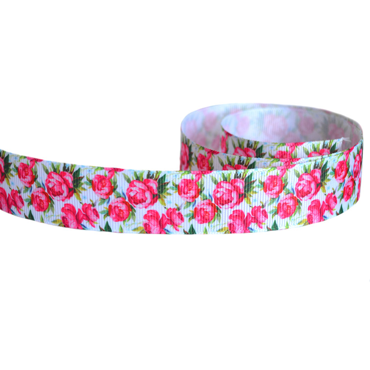Репсовая лента «Цветы» 2,5 см (1м)