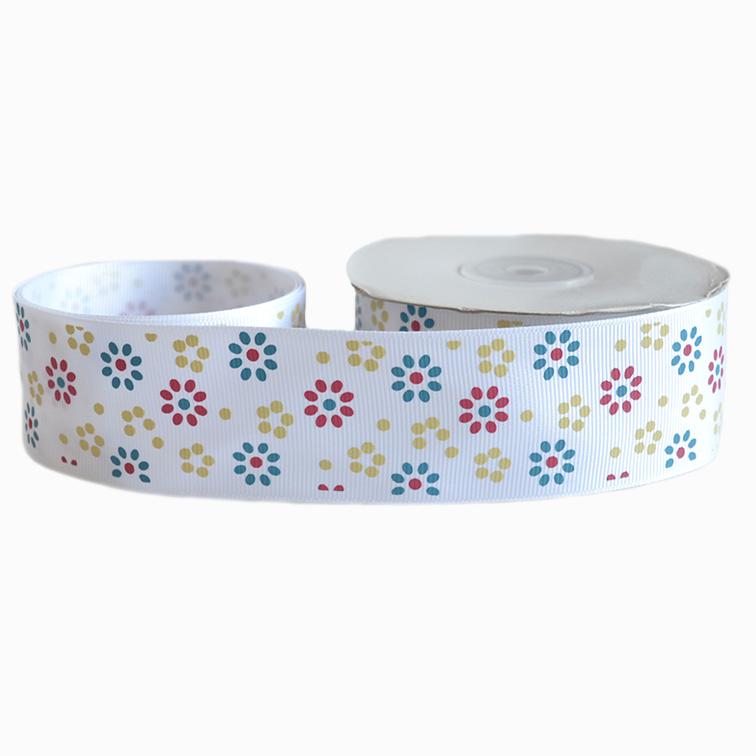 Репсовая лента «Цветы» 4 см (1м), белый