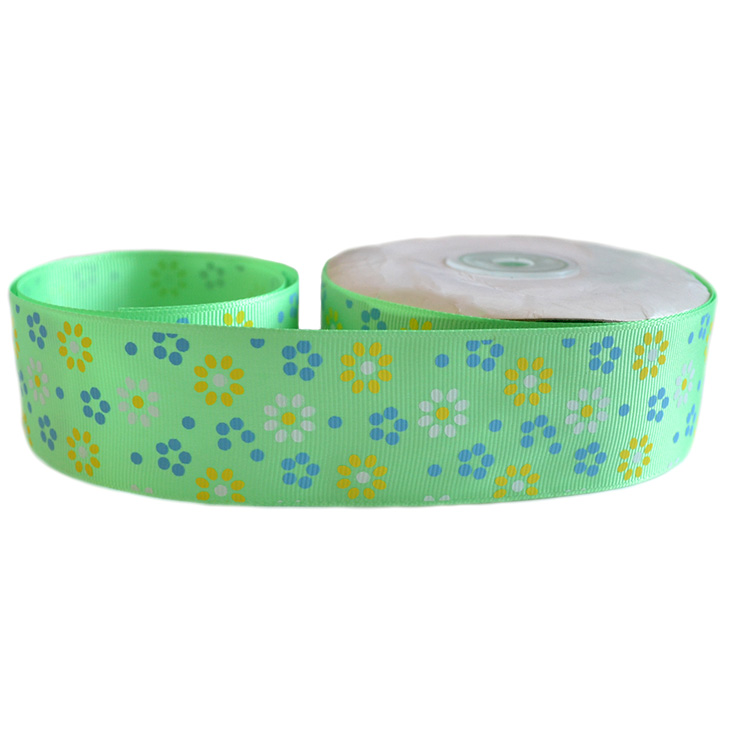 Репсовая лента «Цветы» 4 см (1м), зелёный