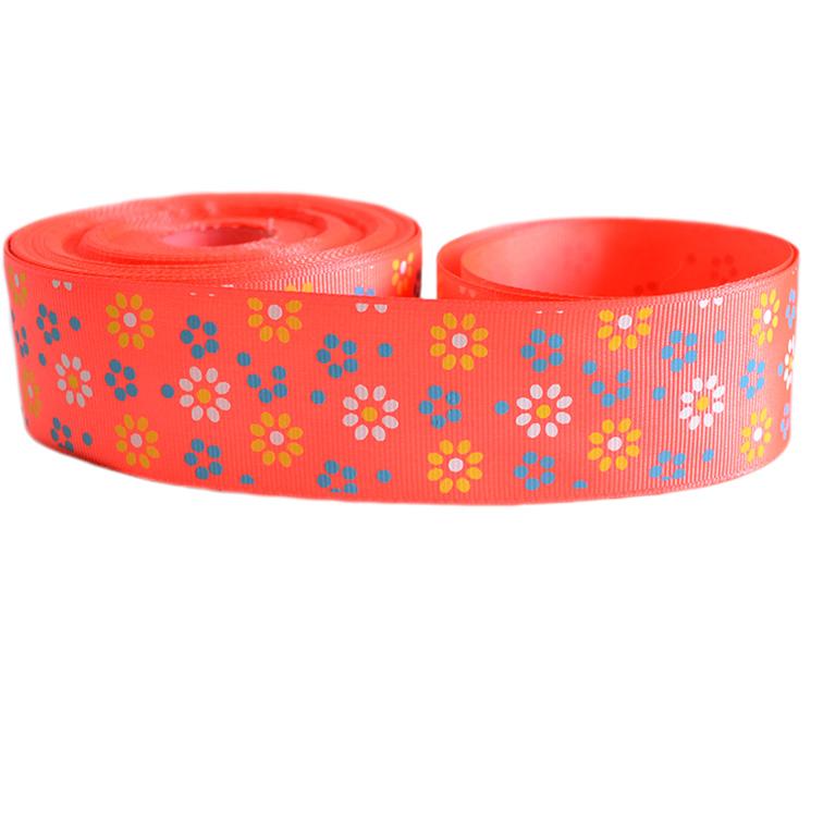 Репсовая лента «Цветы» 4 см (1м), оранжевый