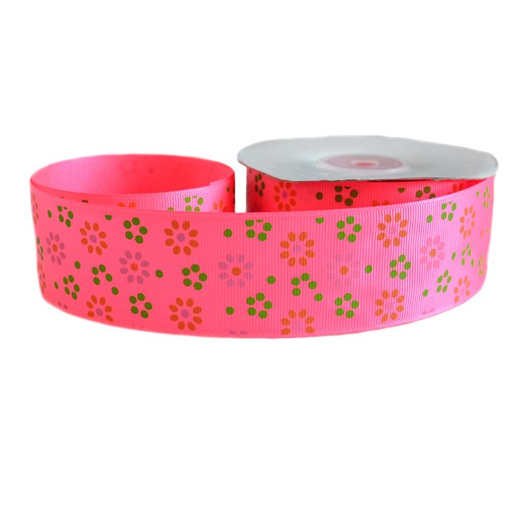 Репсовая лента «Цветы» 4 см (1м), ярко розовый