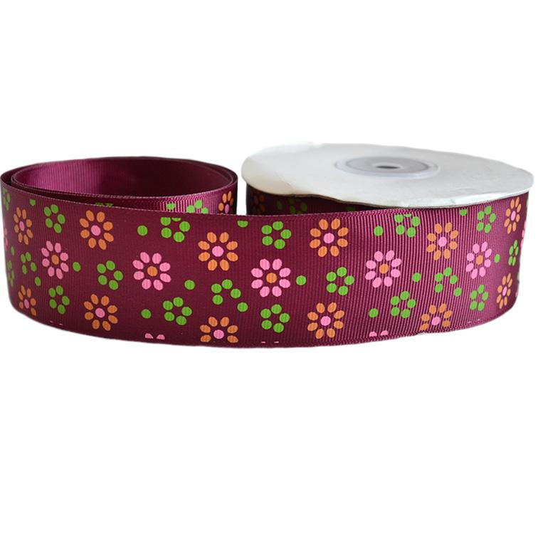 Репсовая лента «Цветы» 4 см (1м), бордовый
