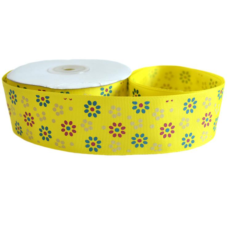 Репсовая лента «Цветы» 4 см (1м), жёлтый