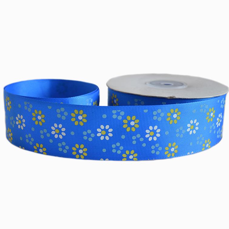 Репсовая лента «Цветы» 4 см (1м), синий