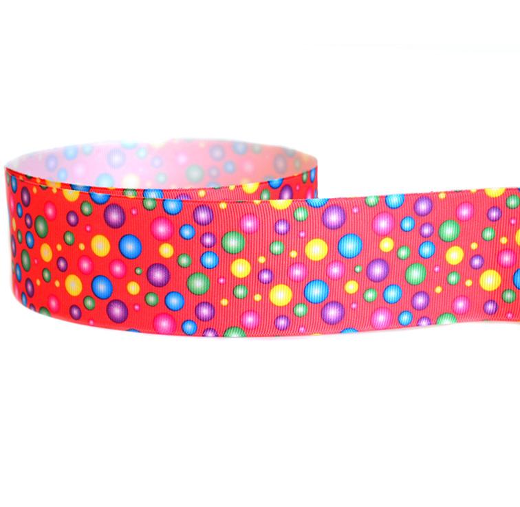 Репсовая лента «Цветные шарики» 4.7 см (1м)