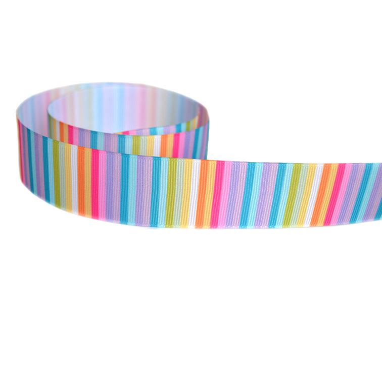Репсовая лента «Радужные полоски» 2,5 см (1м)