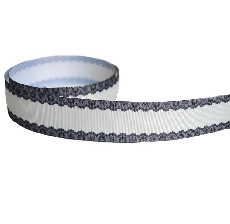 Репсовая лента «Кружево» 2.5 см, кремовый/чёрный (1м)