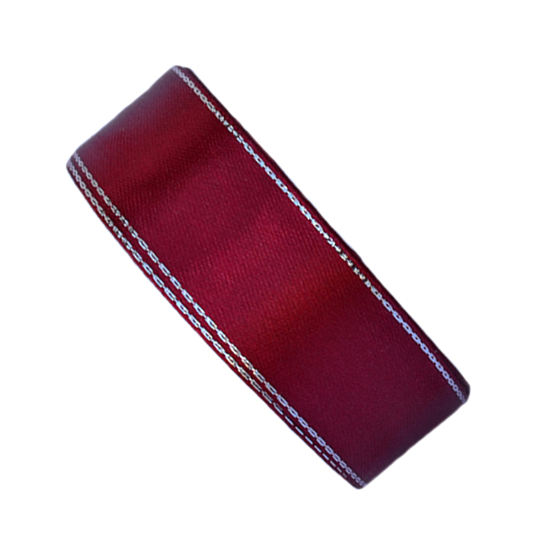 Атласная лента 2,5 см бордовый с серебряным люрексом (бабина)