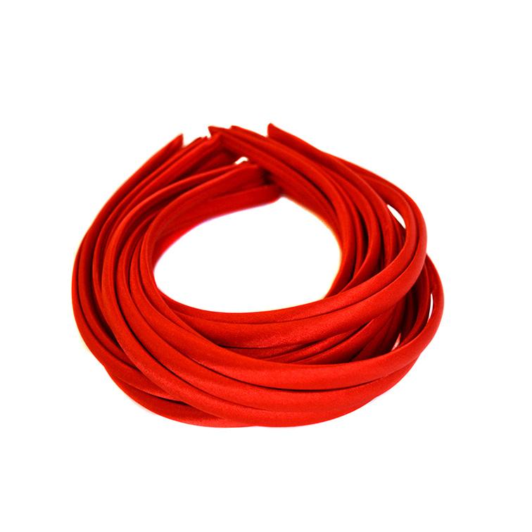Ободок (обруч) для волос с атласной лентой 1 см, красный
