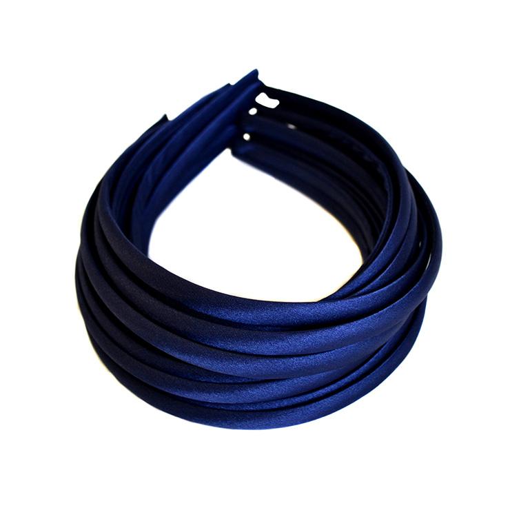 Ободок (обруч) для волос с атласной лентой 1 см, тёмно синий