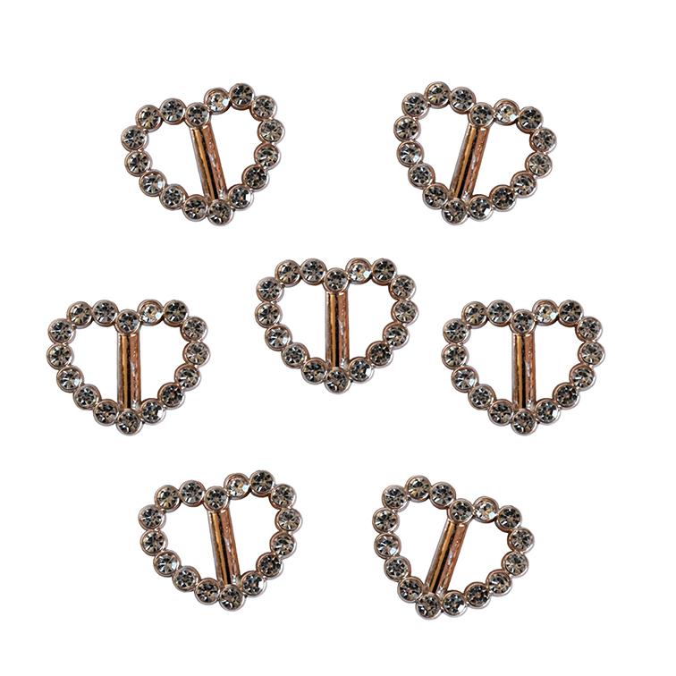 Пряжка декоративная со стразами «Сердечко», 22*20 мм (1 шт), золото