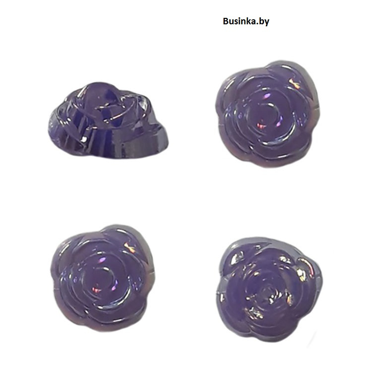 Кабошоны декоративные «Розочка» 14 мм, фиолетовый (1 шт)