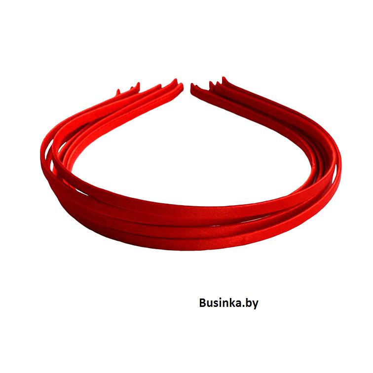 Ободок (обруч) для волос с атласной лентой 0,5 см, красный
