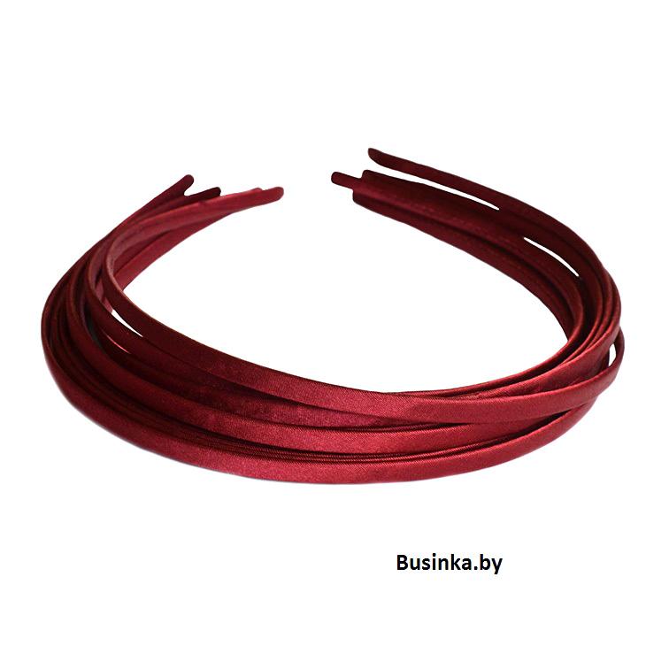 Ободок (обруч) для волос с атласной лентой 0,5 см, бордовый