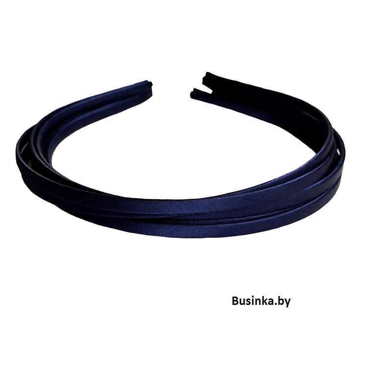 Ободок (обруч) для волос с атласной лентой 0.5 см, тёмно синий