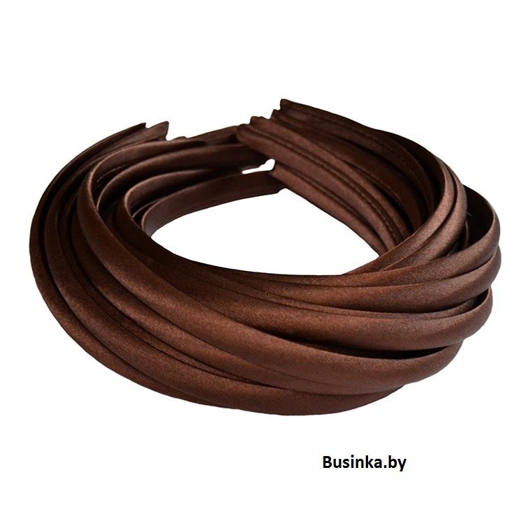 Ободок (обруч) для волос с атласной лентой 1 см, шоколадный