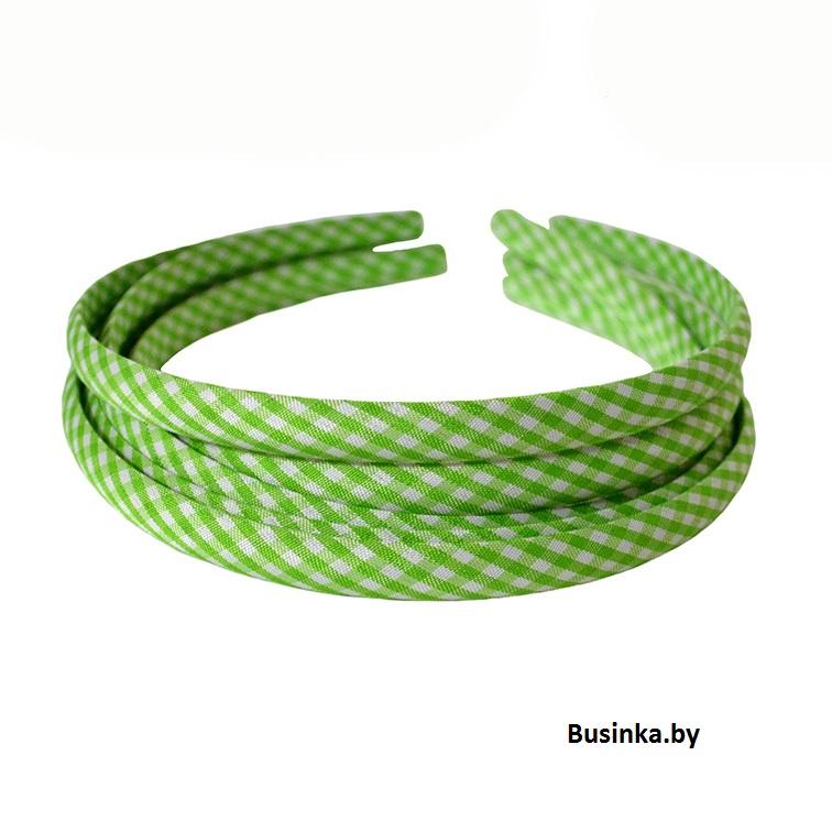 Ободок (обруч) для волос с тканью 1 см, зелёный