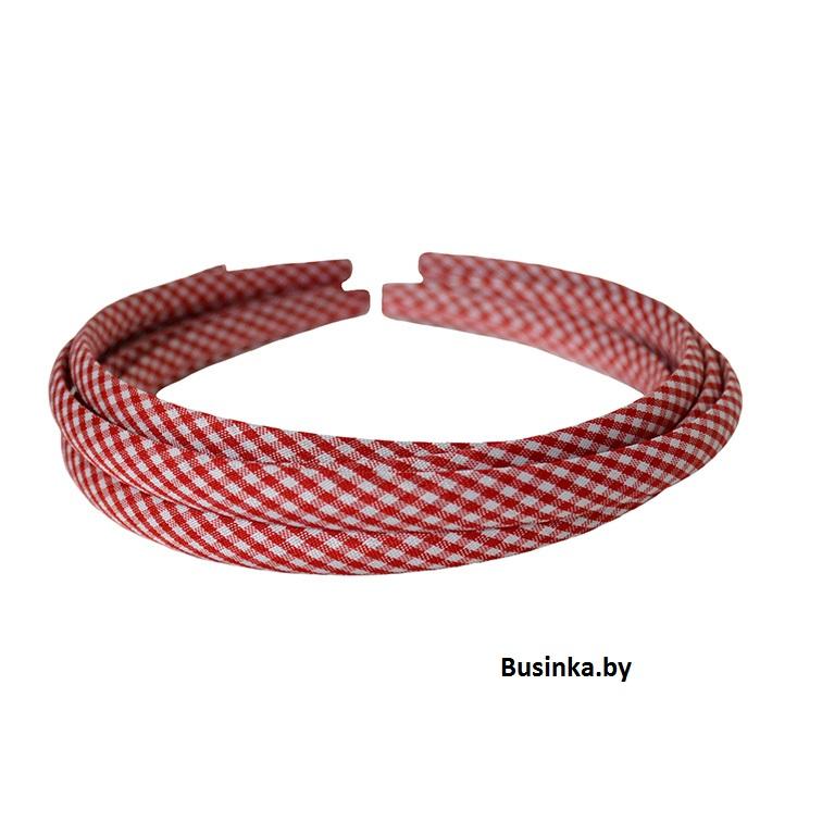 Ободок (обруч) для волос с тканью 1 см, красный