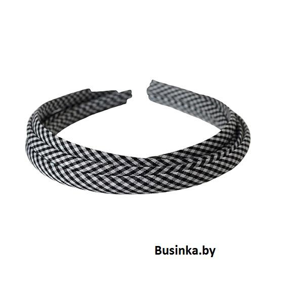 Ободок (обруч) для волос с тканью 1 см, чёрный