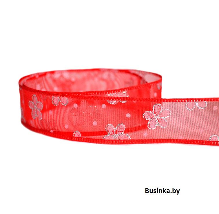 Лента «Цветочки с блёстками» 2.5 см, красный (1 метр)