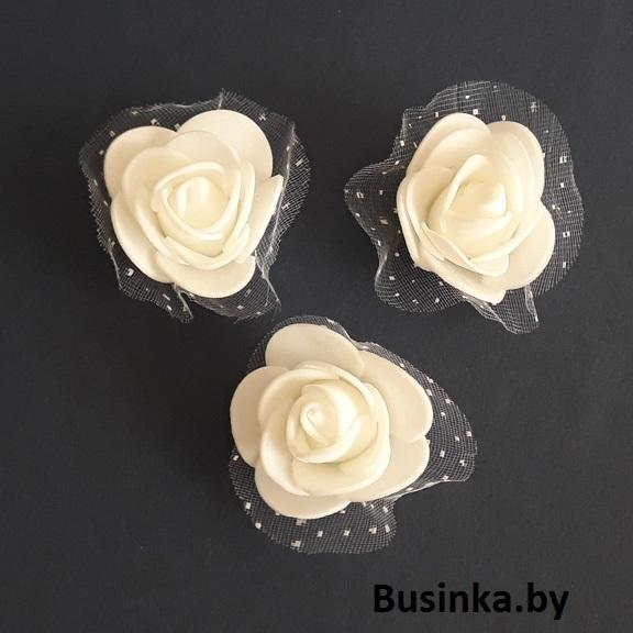 Головки цветов с сеткой, белый 35 мм (1 шт)
