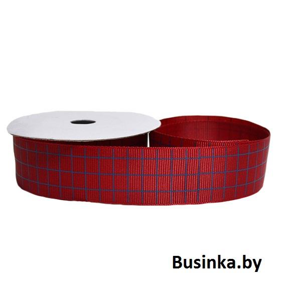 Репсовая лента «Клетка» 2,5 см (1м), бордовый