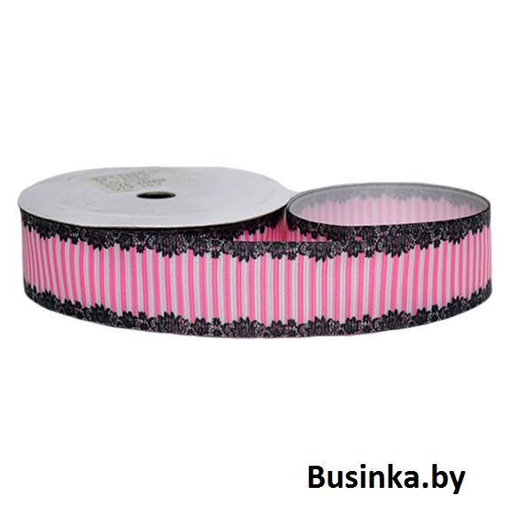 Репсовая лента «Кружево полоска» 2,5 см (1м)