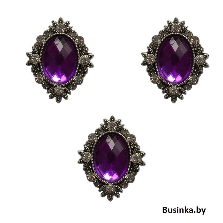 Серединки ювелирные со стразами 25*32 мм, фиолетовый (1 шт)
