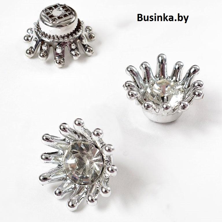 Кабошон флоризель «Корона» 14 мм, серебро (1 шт)
