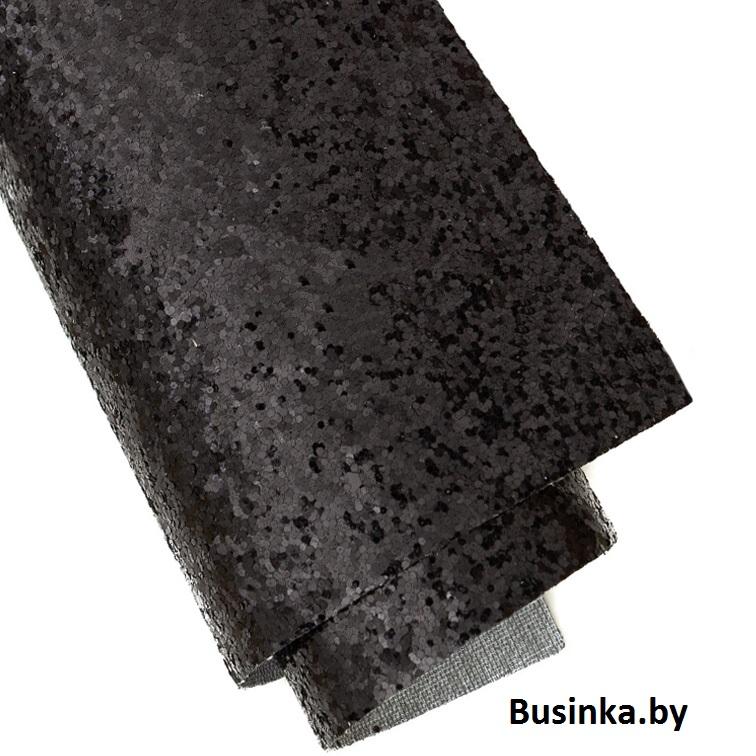 Кожзам с крупными блёстками 20*30 см, чёрный (1 шт)