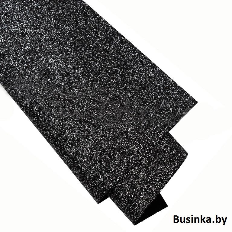 Кожзам с блёстками 22*30 см, чёрный (1 шт)