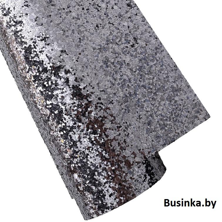Кожзам с крупными блёстками 20*30 см, чёрное серебро (1 шт)
