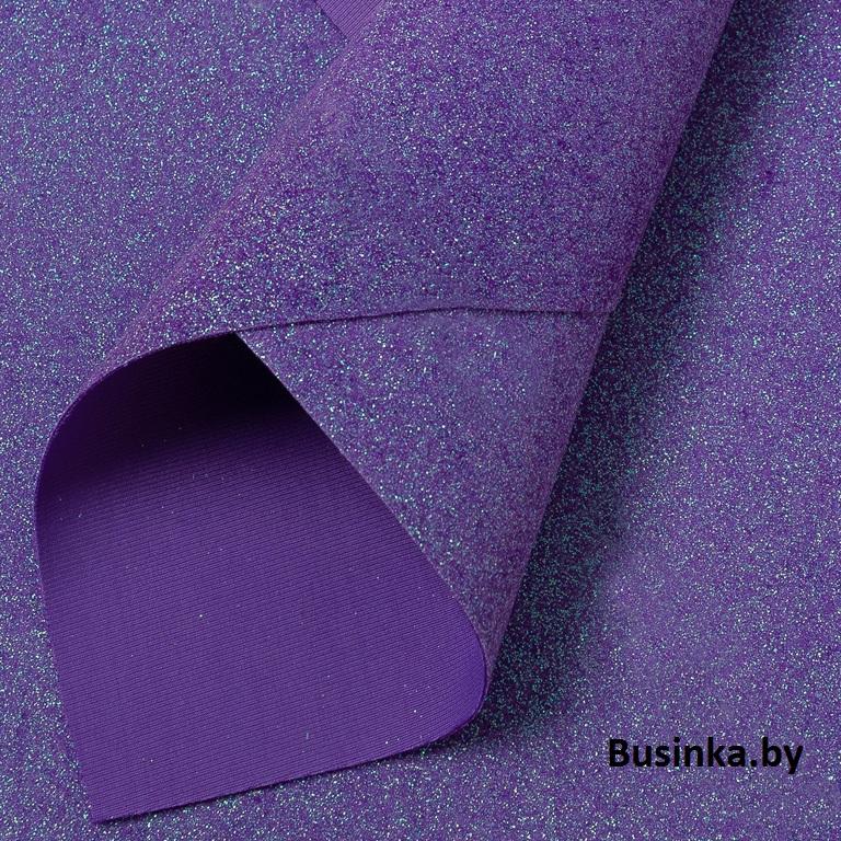 Кожзам с глиттером 22*30 см, фиолетовый (1 шт)