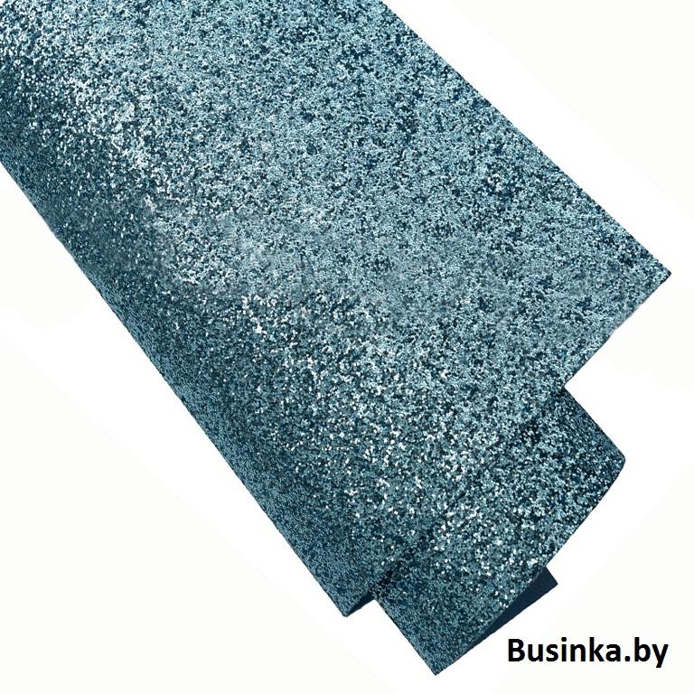 Кожзам с блёстками 22*30 см, голубой (1 шт) (Копировать)