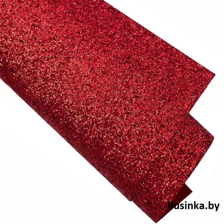 Кожзам с блёстками 22*30 см, красный (1 шт)