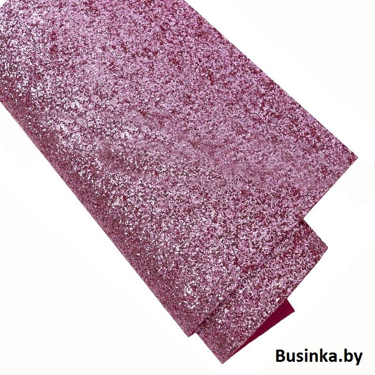 Кожзам с мелкими блёстками 22*30 см, розовый (1 шт)
