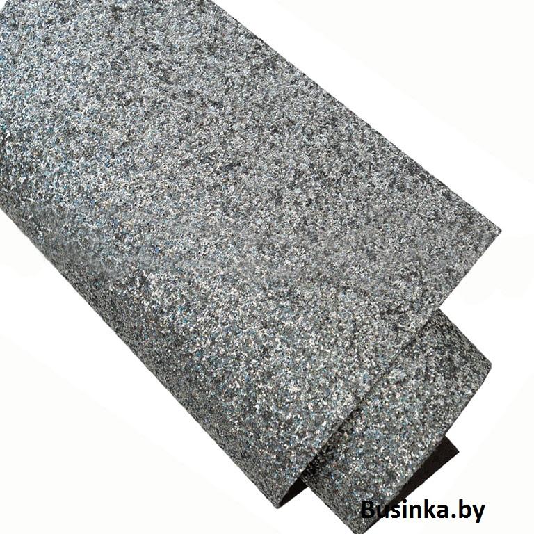 Кожзам с блёстками 22*30 см, серебро/голографик (1 шт)