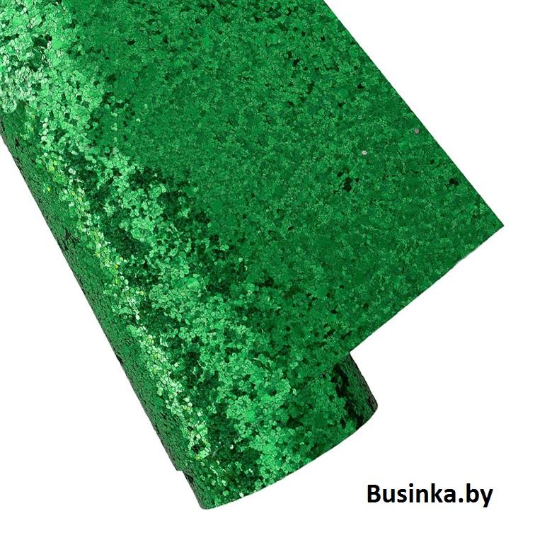 Кожзам с крупными блёстками 22*30 см, зелёный (1 шт)