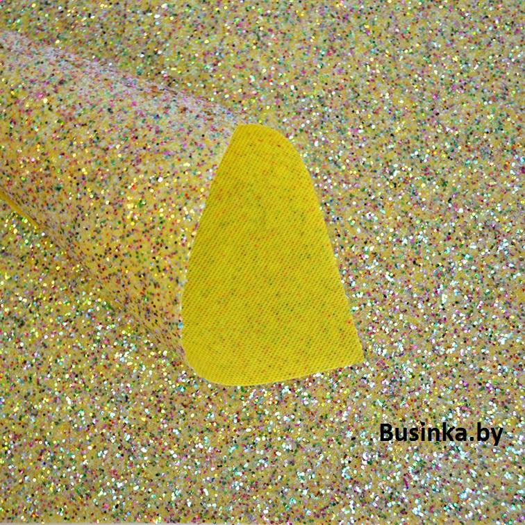 Кожзам с крупными блёстками 22*30 см, золото-мультиколор (1 шт)