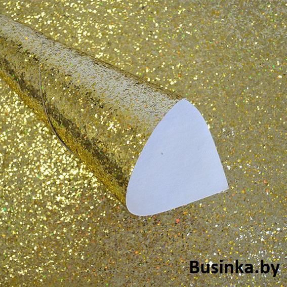 Кожзам с крупными блёстками 20*30 см, золото голографик (1 шт)