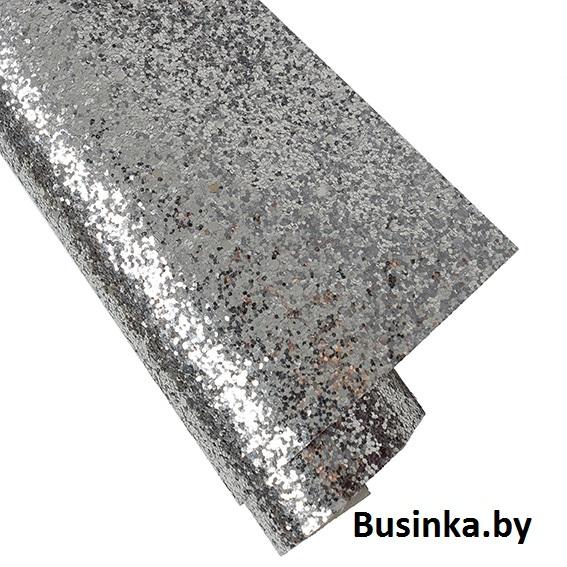 Кожзам с крупными блёстками 20*30 см, серебро (1 шт)
