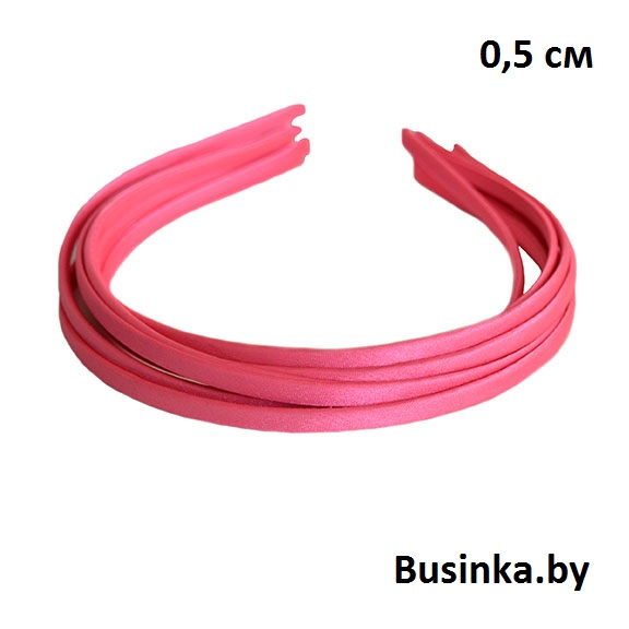 Ободок (обруч) для волос с атласной лентой 0.5 см, розовый