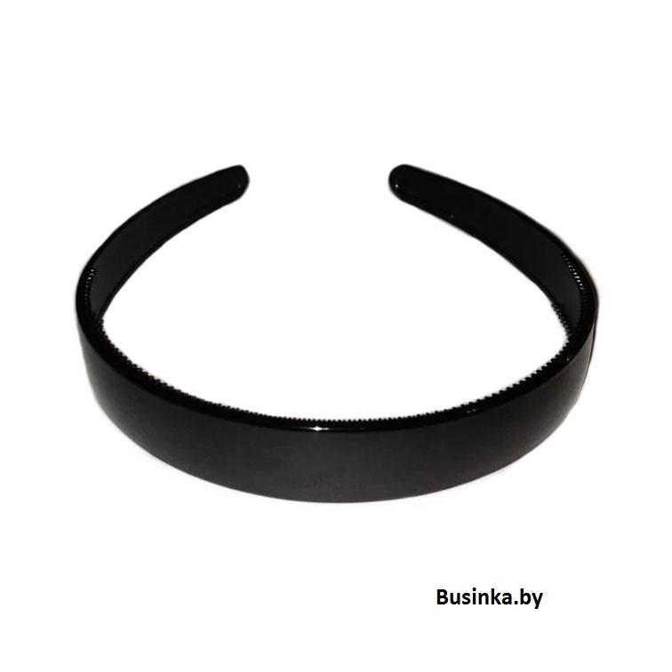 Ободок (обруч) для волос пластик 18 мм, чёрный