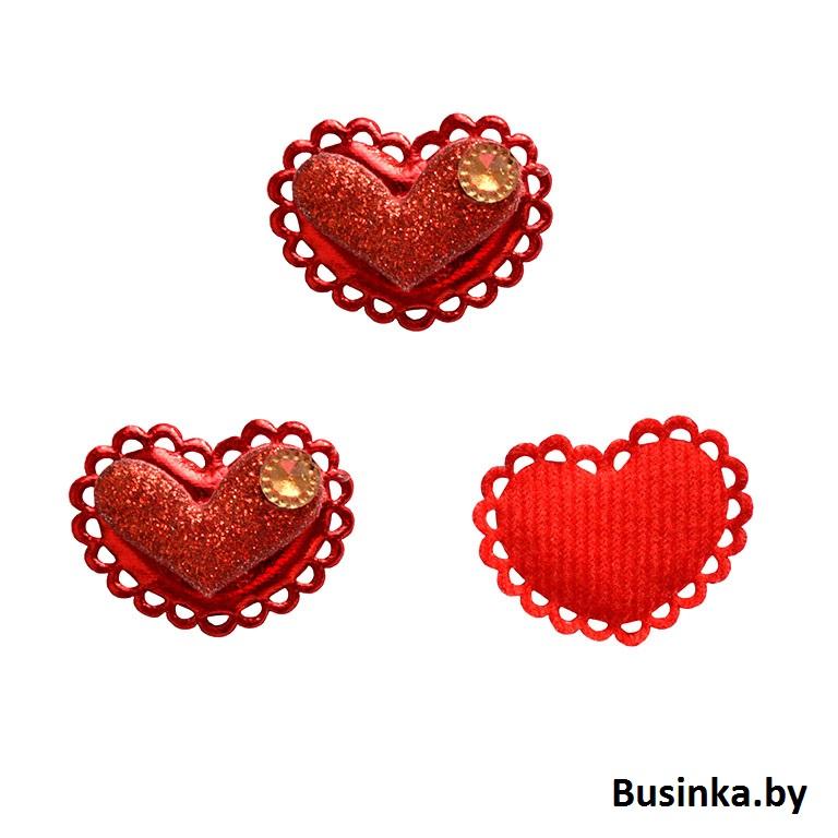 """Патч 3D с декором """"Сердце"""" 3.7*2.5 см, красный"""
