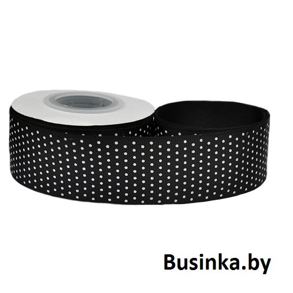 Репсовая лента «Мелкий горох» 4 см, чёрный (1 м)