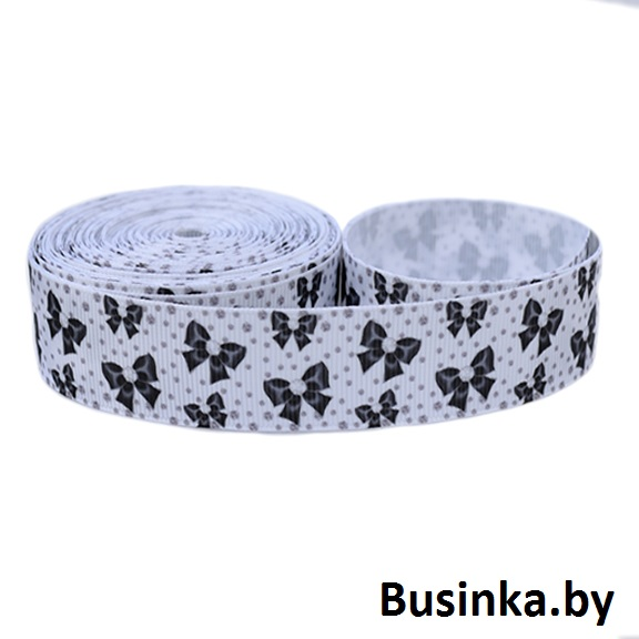 Репсовая лента «Банты» (1 м), чёрный/белый